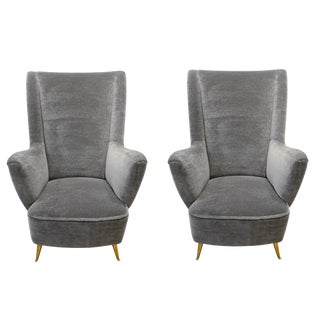 i.s.a - Pair of Italian Armchairs in Gray Velvet Mohair and Brass
