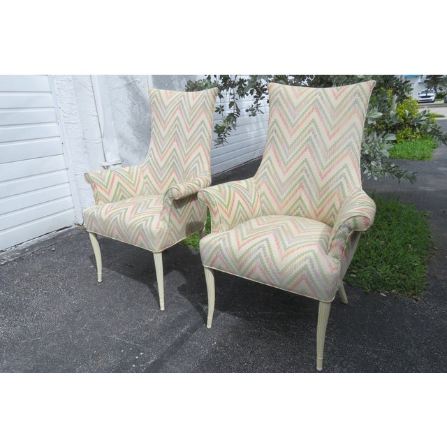 Vintage Painted Tall Pair of Living BedRoom Fireplace Side Chairs For Sale - Image 9 of 13