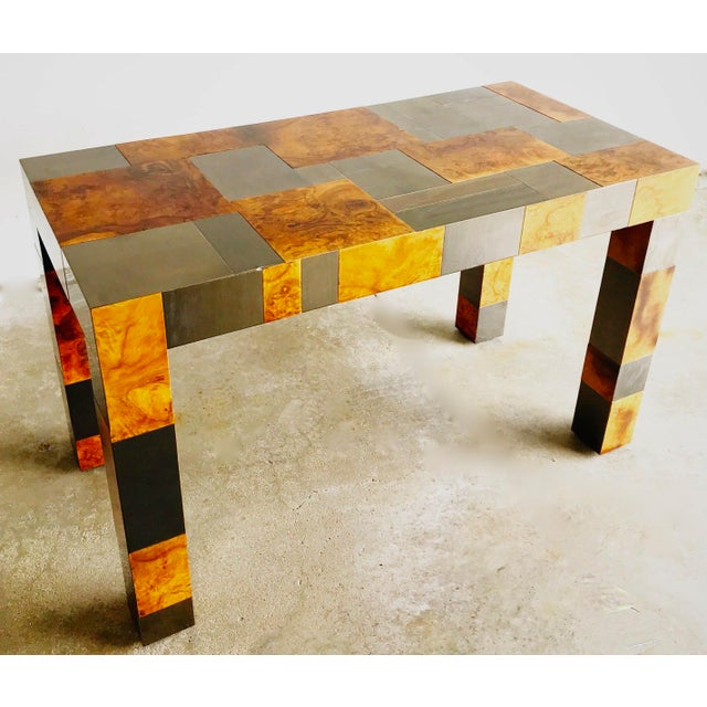 "Paul Evans Paul Evans Signed Original ""Cityscape"" Desk in Burl Walnut & Chrome For Sale - Image 4 of 11"