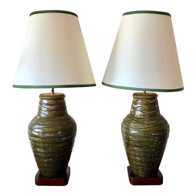 1950s Vintage Thai Celadon Green Porcelain Crackle Lamps - A Pair For Sale