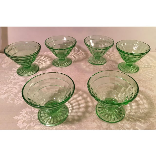 Contemporary Mid-Century Modern Green Uranium Glass Footed Sherbets - Set of 6 For Sale - Image 3 of 9