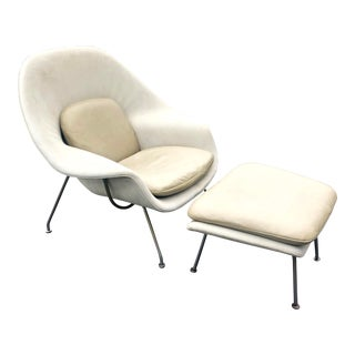 1950s Vintage Eero Saarinen Leather Womb Chair and Ottoman Knoll For Sale