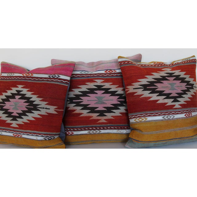 Boho Chic 18'' Antique Turkish Kilim Rug Pillows - Set of 3 For Sale - Image 3 of 6