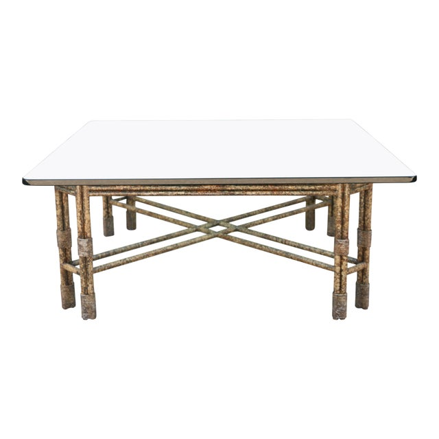 Metal Distressed Rustic Coffee Table For Sale
