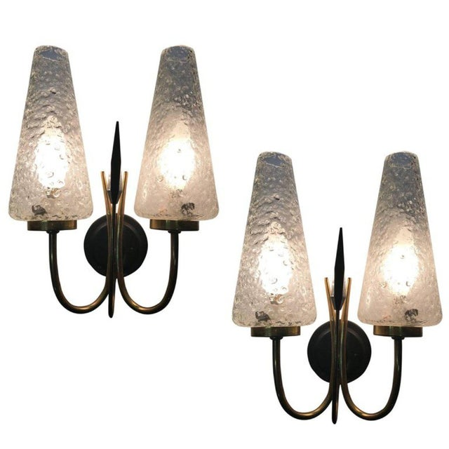 French 1950s Textured Glass and Brass Sconces - a Pair - Image 4 of 4