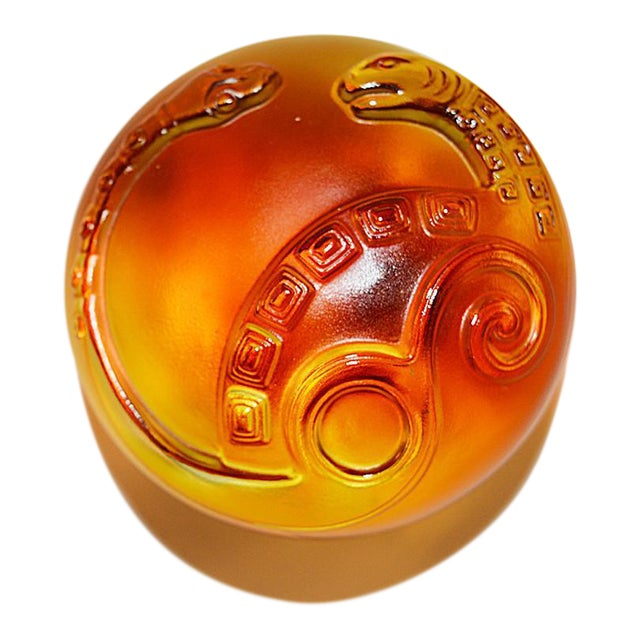 """Crystal """"Xuanwu of the North: Wonderful"""" Limited Edition Mythical Snake Paperweight, Amber Purple Clear For Sale"""