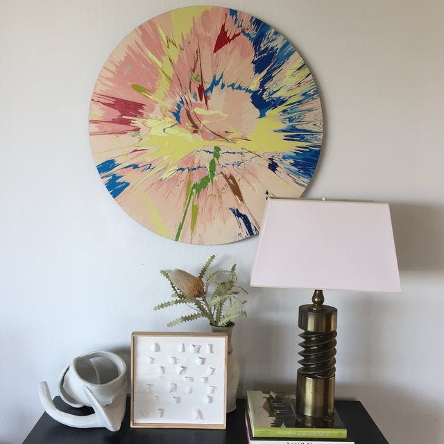 These colors jive. Vibrant and impactful color field radiates energy and dynamism. Hanging hardware on the back causes...