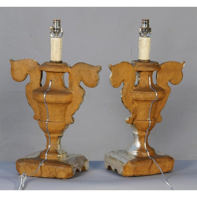 Pair of 19th Century Silvergilt Pricket Base Urn Lamps For Sale In West Palm - Image 6 of 8