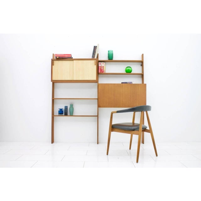 Mid-Century Modern Dieter Waeckerlin Teak Shelf With Seagrass Sliding Doors With a Bar or Desk, 1950s For Sale - Image 3 of 10