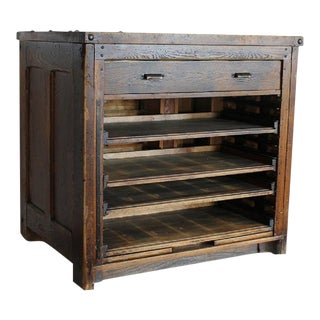 Antique American Printer Wood Cabinet