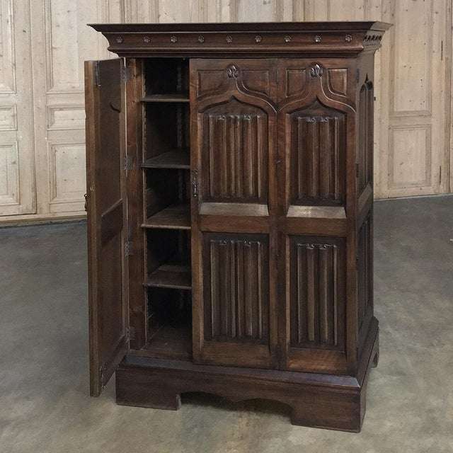 19th Century French Gothic Solid Walnut Armoire ~ Bonnetiere For Sale - Image 11 of 13