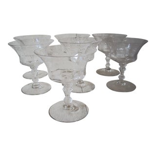 1940's Etched Crystal Coupes - Set of 7 For Sale