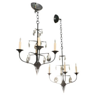 Mid-Century Erik Hoglund Iron Chandeliers - A Pair For Sale