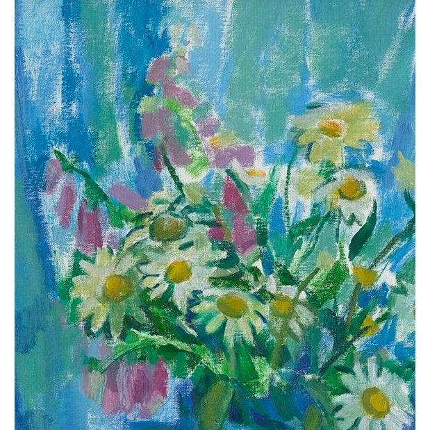 """For """"Summer Flowers in Blue"""" I was inspired by the cool and refreshing shade on the flowers in my open air studio."""