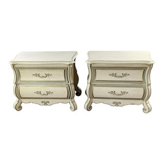 Thomasville French Provincial White Wooden Nightstands - a Pair For Sale