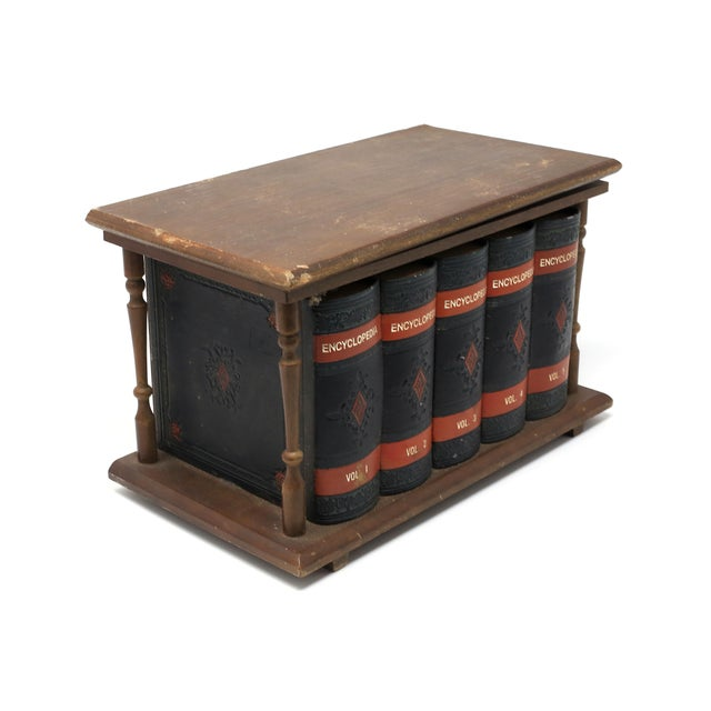 Asian Vintage Japanese Wood and Leather Library Liquor Box With Original Glassware For Sale - Image 3 of 12