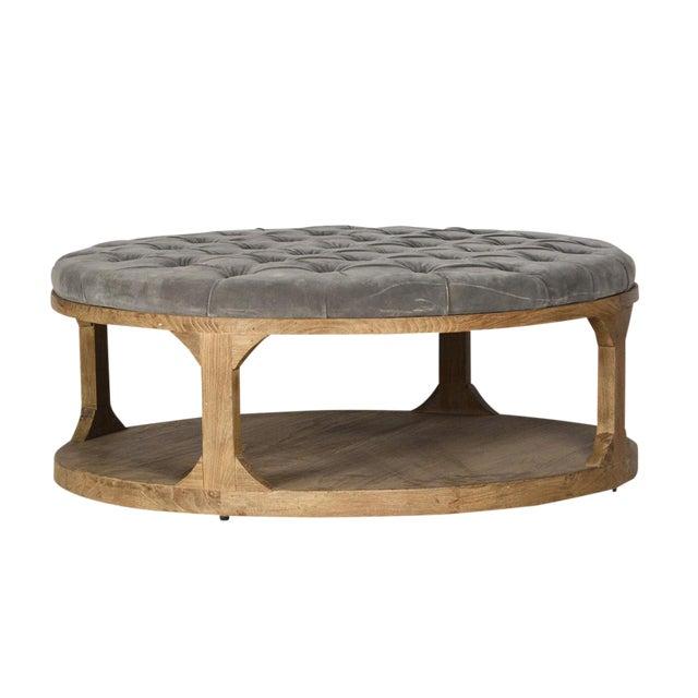 Grey Velvet Upholstered Coffee Table For Sale
