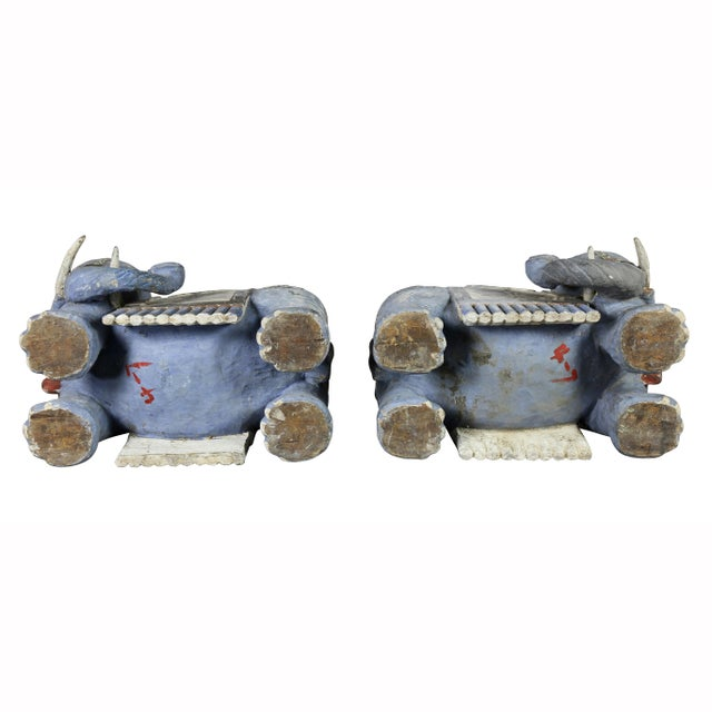 Chinese Painted Wood Elephants on Brackets - a Pair For Sale - Image 11 of 13