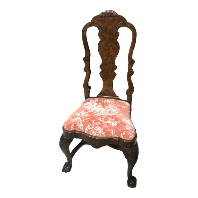Early 20th Century Ball and Claw Chinoiserie Desk Chair For Sale