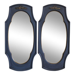 Mid Century Blue Mirrors, a Pair For Sale