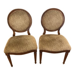Vintage Mid Century Leopard Print Side Chairs- A Pair For Sale