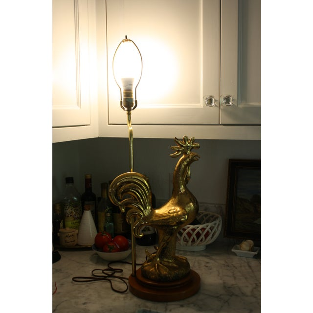 Brass Mid-Century Signed Sascha Brastoff Rooster Lamp With Original Shade For Sale - Image 7 of 11