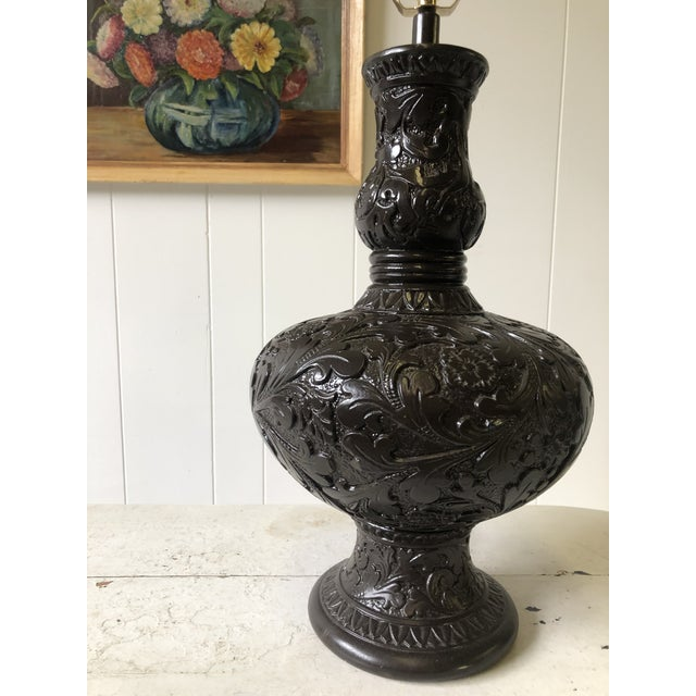 Classic Western Embossed Oak Leaf Pattern Lamp For Sale - Image 9 of 13