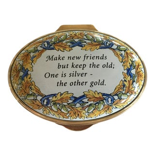 "Vintage ""Make New Friends, but Keep the Old... "" Staffordshire Enamel Box For Sale"