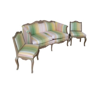 Weiman French Upholstered Sofa and Two Chairs Set For Sale