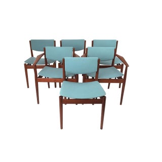 1960's Vintage Finn Juhl Scandinavian Teak Dining Chairs- Set of 6 For Sale