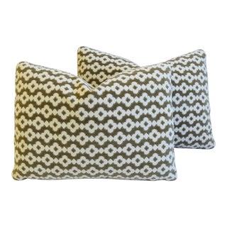 "French Manuel Canovas Velvet Feather/Down Pillows 22"" X 16"" - Pair"