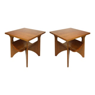 Modernist Style Walnut Two-Tiered Side Tables W/ Magazine Holder by Decca-A Pair For Sale