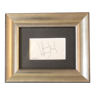 Original Vintage Robert Cooke Miniature Abstract Ink Drawing Framed 1970's For Sale