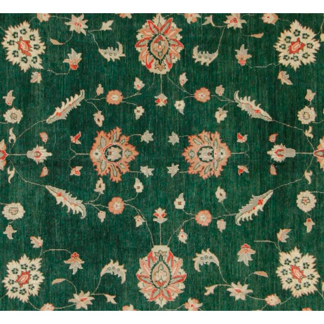 "Rustic Kafkaz Peshawar Nichole Green & Ivory Wool Rug - 9'11"" x 13'10"" For Sale - Image 3 of 7"