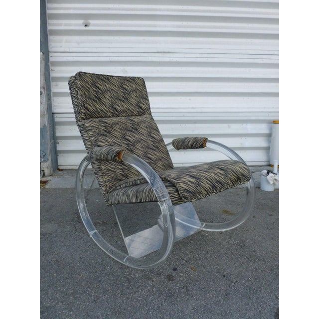 Chic 1970's Hollis Jones lucite rocking chair sold as found estate fresh showing normal signs of wear and tear to bottom...