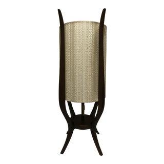 Danish Modern Mid-Century Sculptural Dark Walnut Base Table Lamp For Sale
