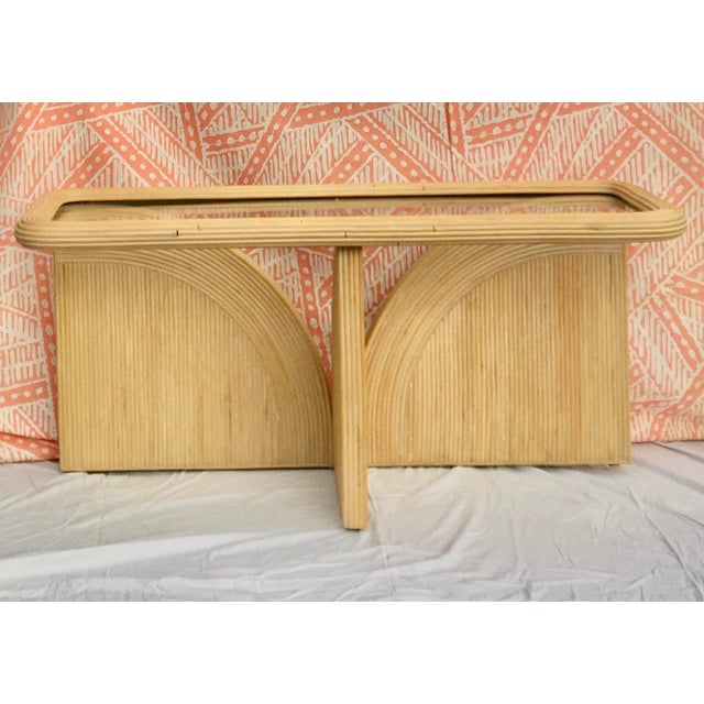 Hollywood Regency Gabriella Crespi Style Split Pencil Reed Rattan and Glass Console or Sofa Table For Sale - Image 9 of 9