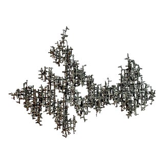 Brutalist Mid Century Modern Wall Sculpture by Daniel Gluck For Sale