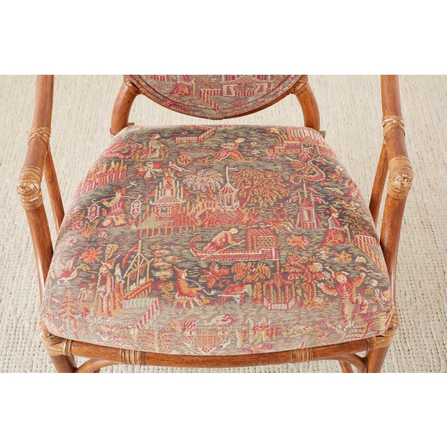 McGuire Rattan Chinoiserie Dining Armchairs - Set of 8 For Sale - Image 9 of 13