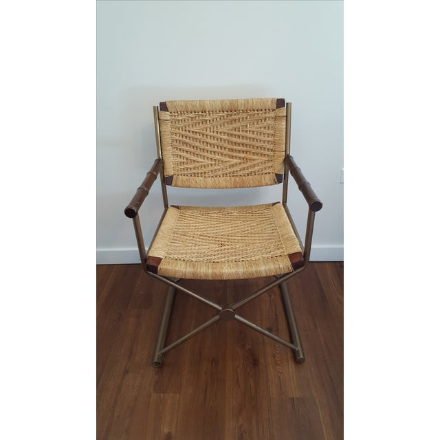 Hollywood Regency Brass Rattan X-Form Director's Chair - Image 2 of 5