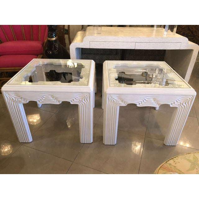 Vintage Modern White Lacquered Wavy End Side Tables -A Pair For Sale - Image 12 of 13