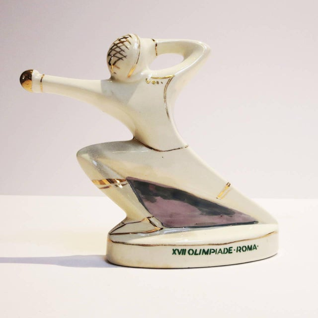 1960s Rome Olympics Glazed Porcelain Sports Figures - Set of 4 For Sale - Image 11 of 12