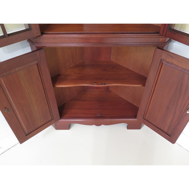 Glass 1990s Chippendale Craftique Solid Mahogany Corner Cabinet For Sale - Image 7 of 11