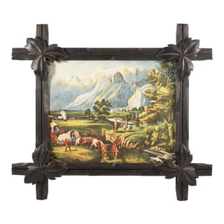 Black Forest Style Frame With Vintage Pioneer Print