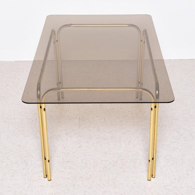 Metal 1970s Vintage Italian Smoked Glass Dining Table For Sale - Image 7 of 8