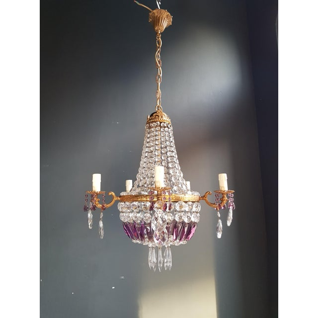 Empire Sac a Pearl Purple Chandelier Crystal Lustre Ceiling Lamp Basket Antique Measures: Total height: 99 cm, height...