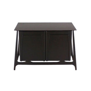 Two-Door Sculptural Exposed Leg Ebonized Server Three-Drawer Bachelor Chest For Sale