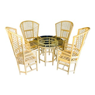 High Back Bamboo Brighton Style Table & 4 Chairs For Sale