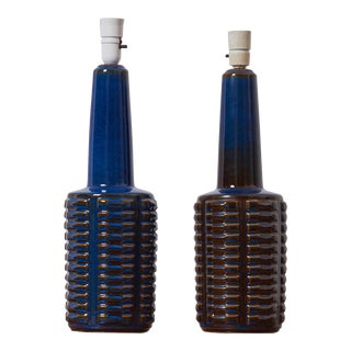 Pair of Large Blue Ceramic Table Lamps by Soholm, Denmark, 1960s For Sale