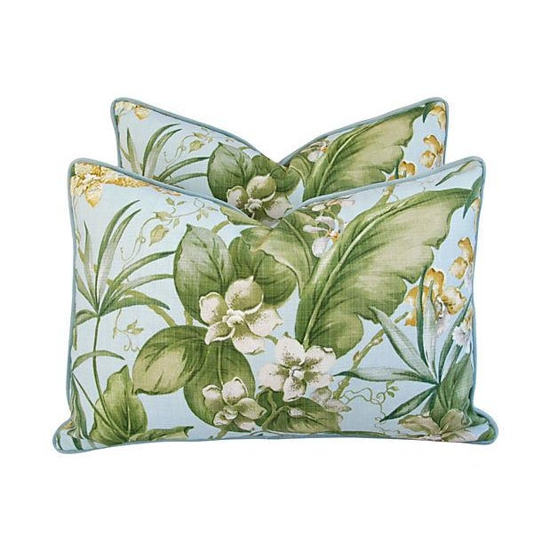 Large Tropical Linen & Velvet Pillows - Pair - Image 1 of 7